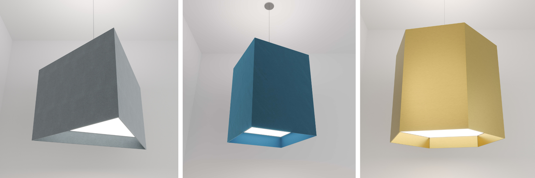Geometric suspended LED pendant lights with acoustic felt.