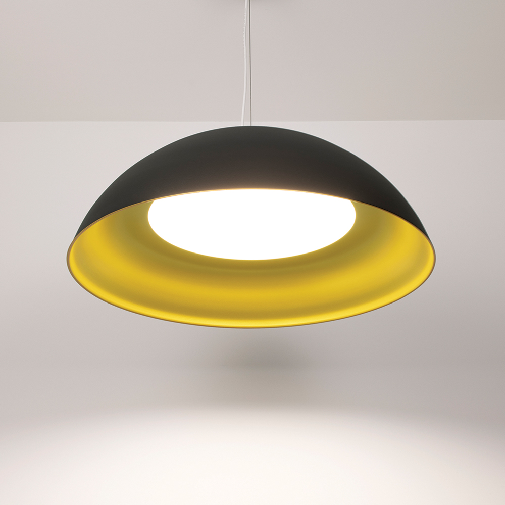 Hellen dome pendant light with Deoro Gold and Velvet Black finishes