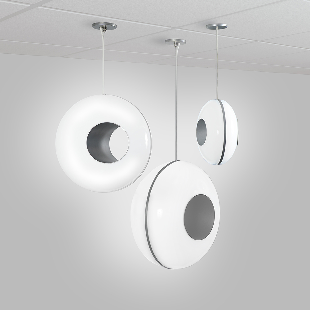 Peek spherical pendants available in three large sizes