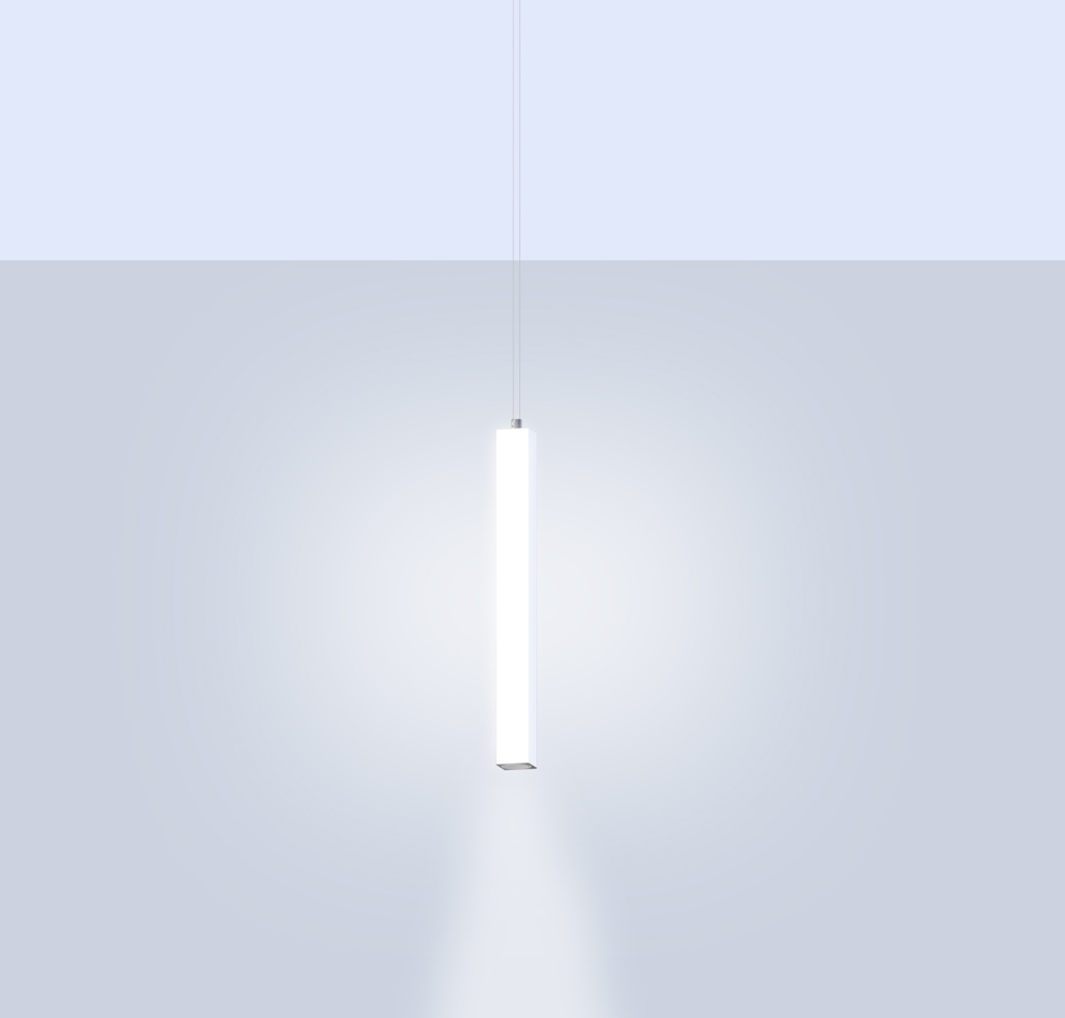 Pillar, a square luminous vertical pendant