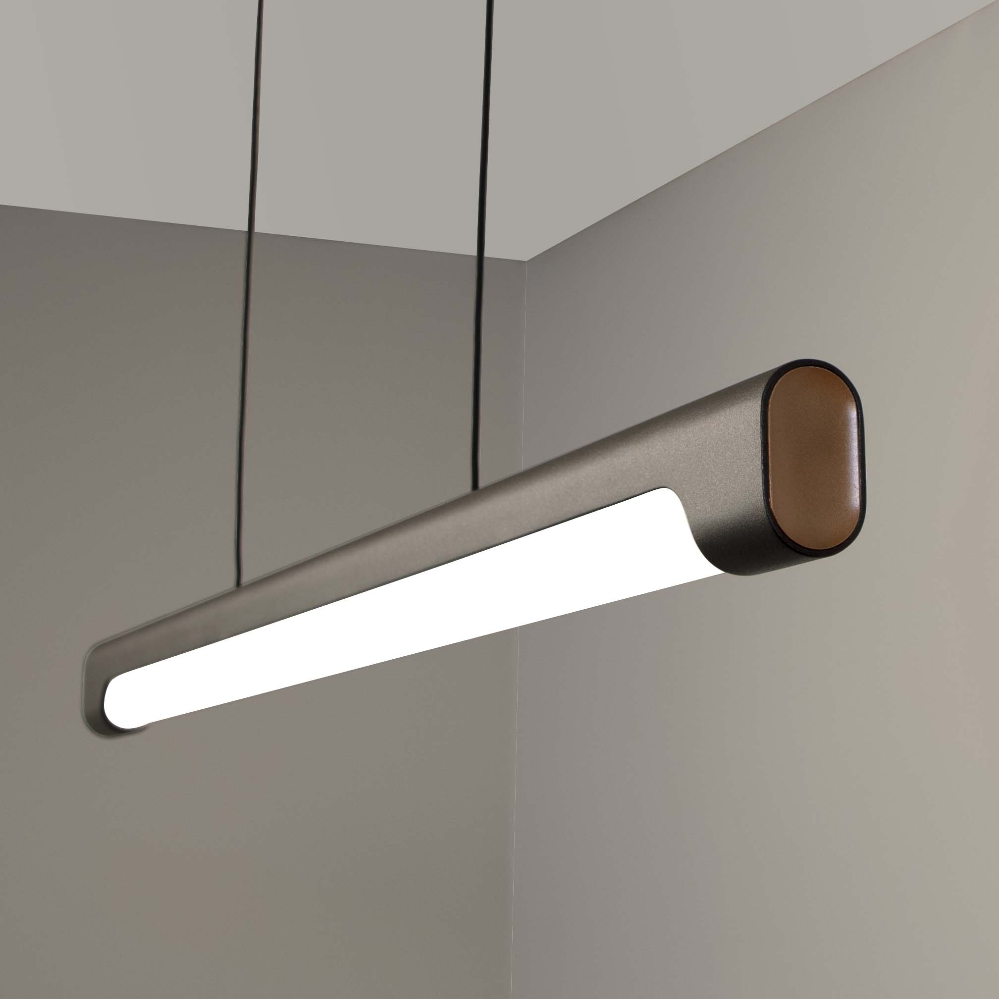 Nacelle linear LED pendant with customizable paint colors