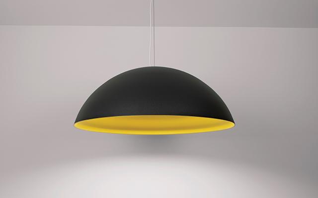 Hellen dome pendant in velvet black and deoro gold finishes