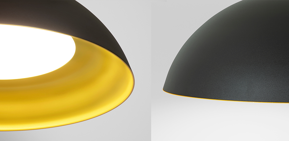 Hellen dome pendant light with black, gold painted finishes