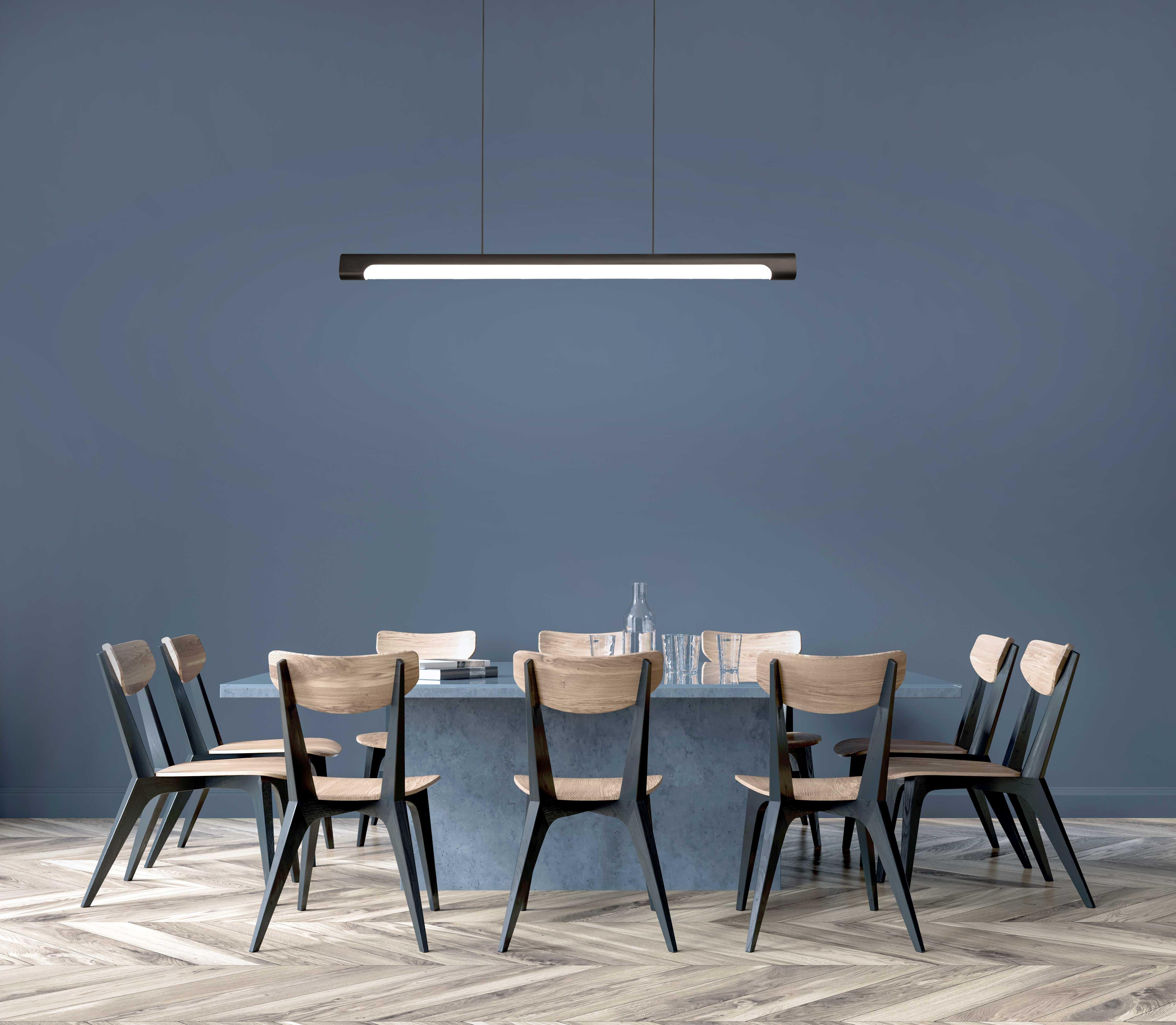 6ft LED linear pendant light hung over table