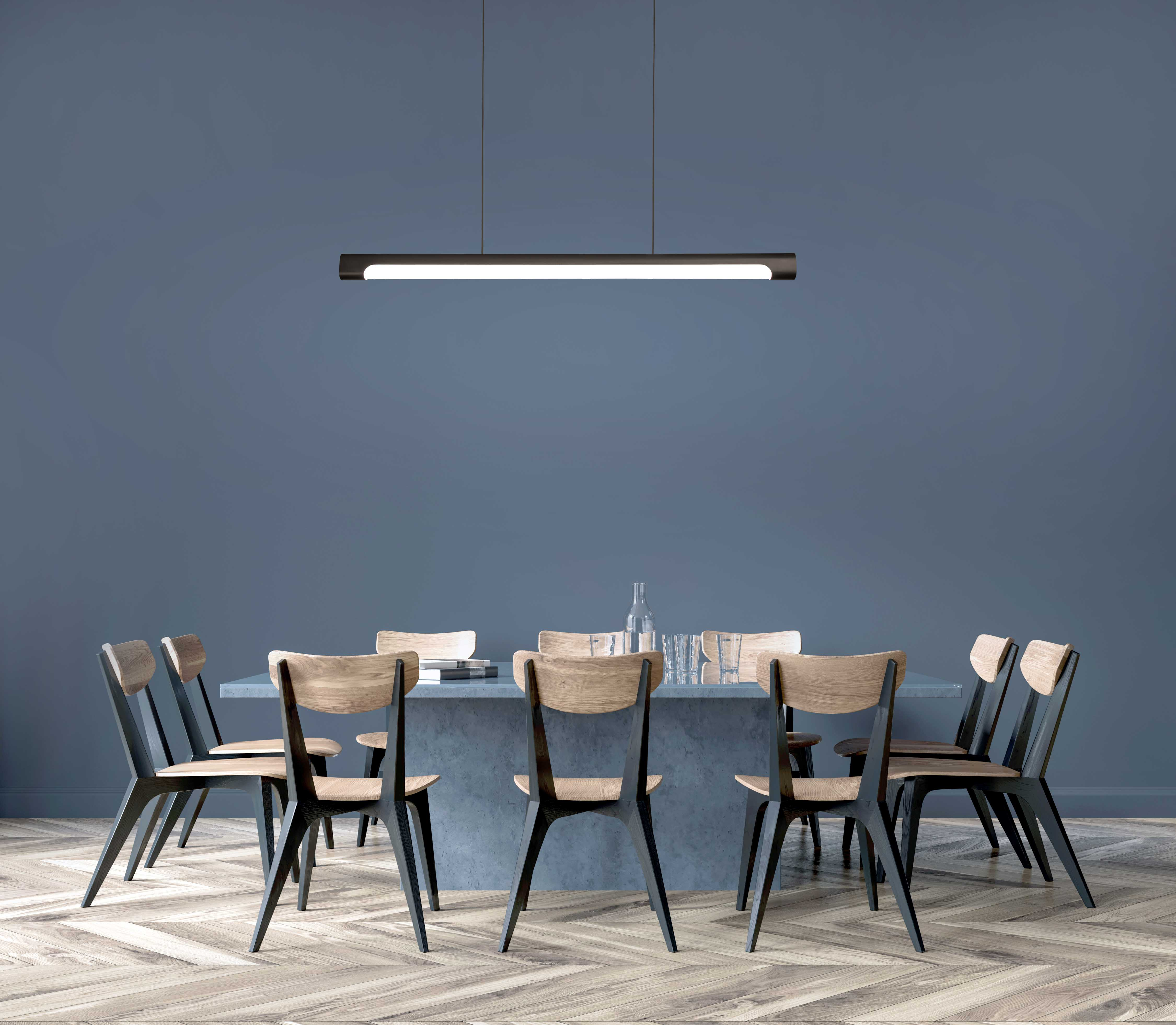 Nacelle decorative linear pendant with organic lines and high-design