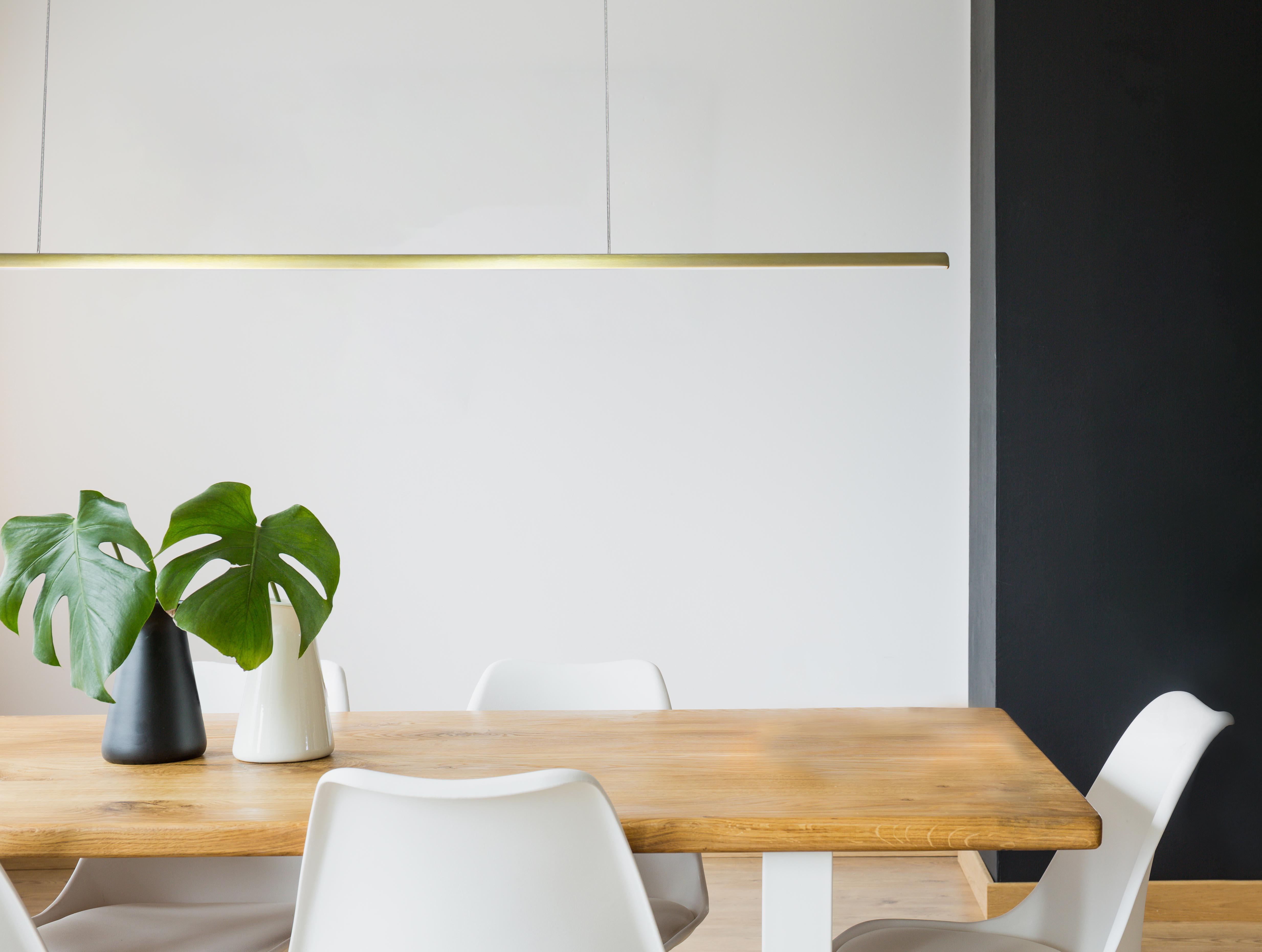 Rae LED slim linear pendant light in office