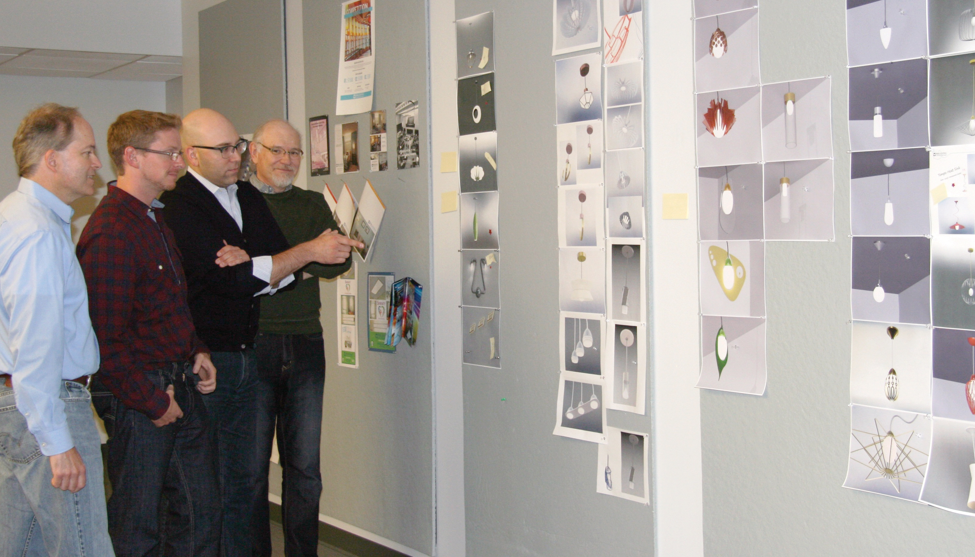 Product designers discuss upcoming light fixture designs.