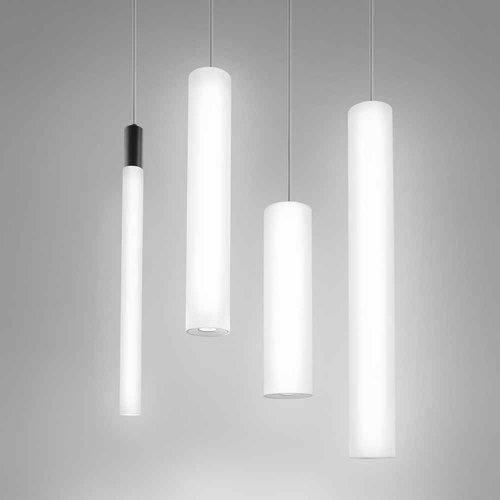 Sequence luminous cylinder pendants in many different dimension options