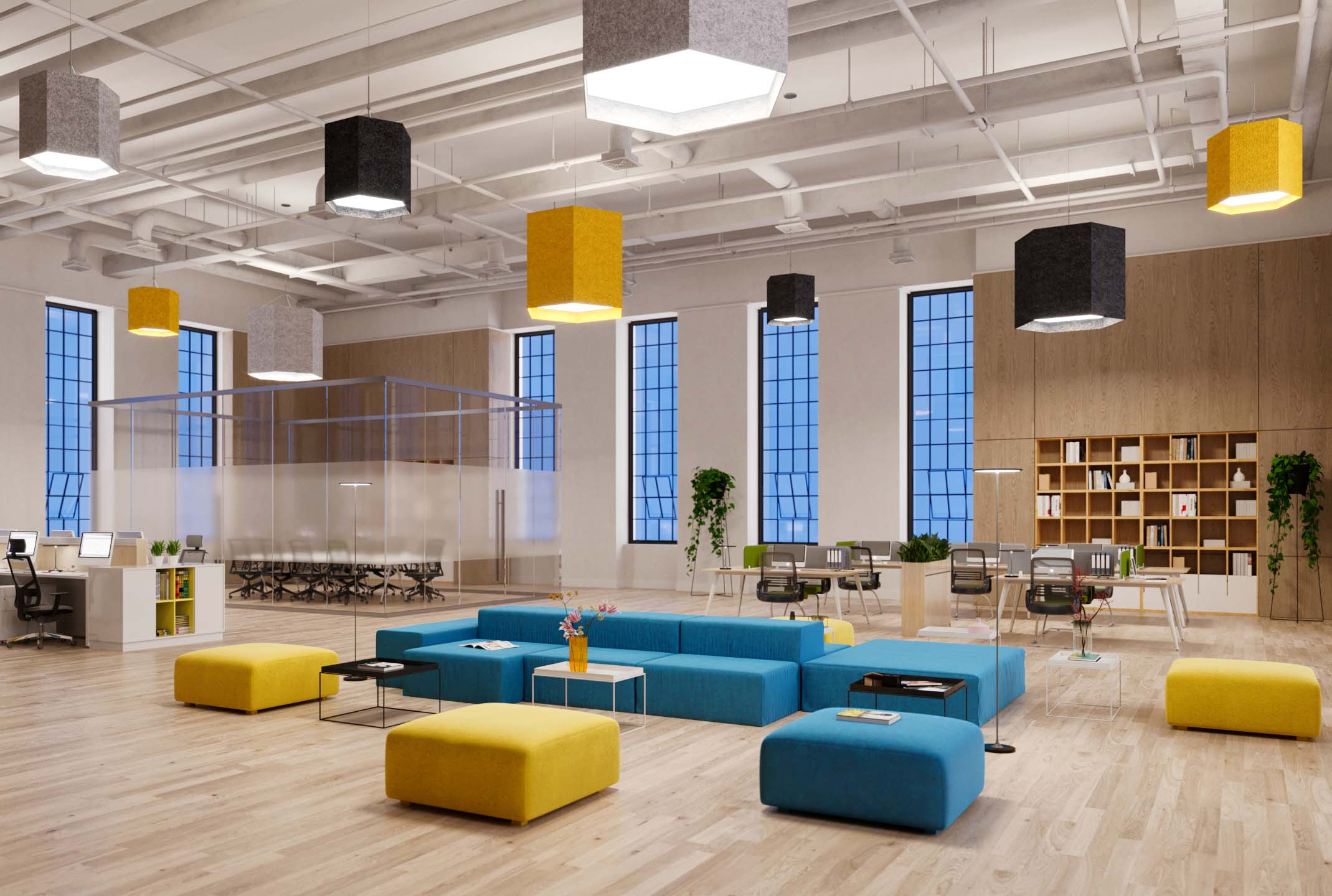 Visa Lighting acoustic felt commercial lighting shown in office and library.
