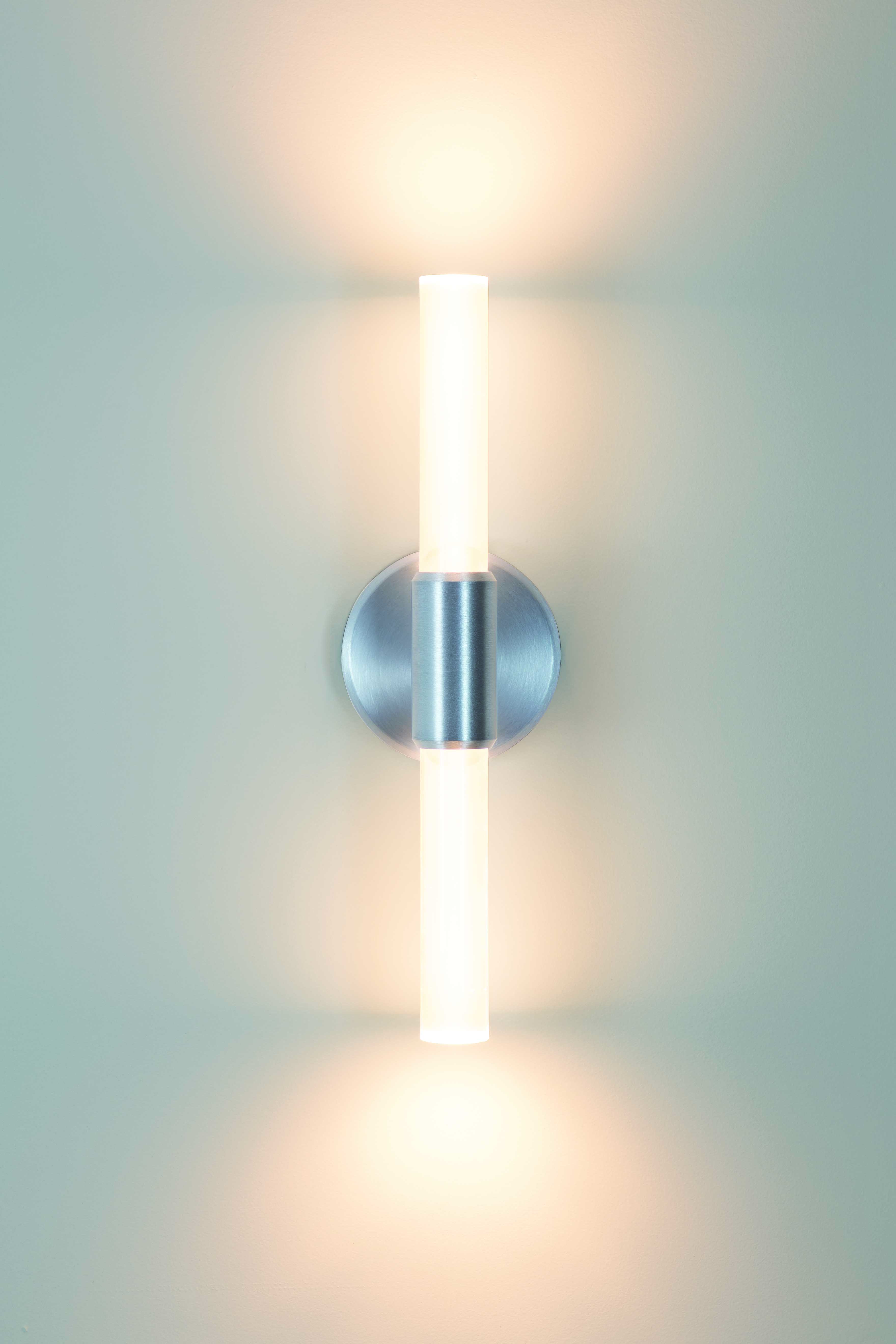 Theo double candelabra rod wall sconce in chrome