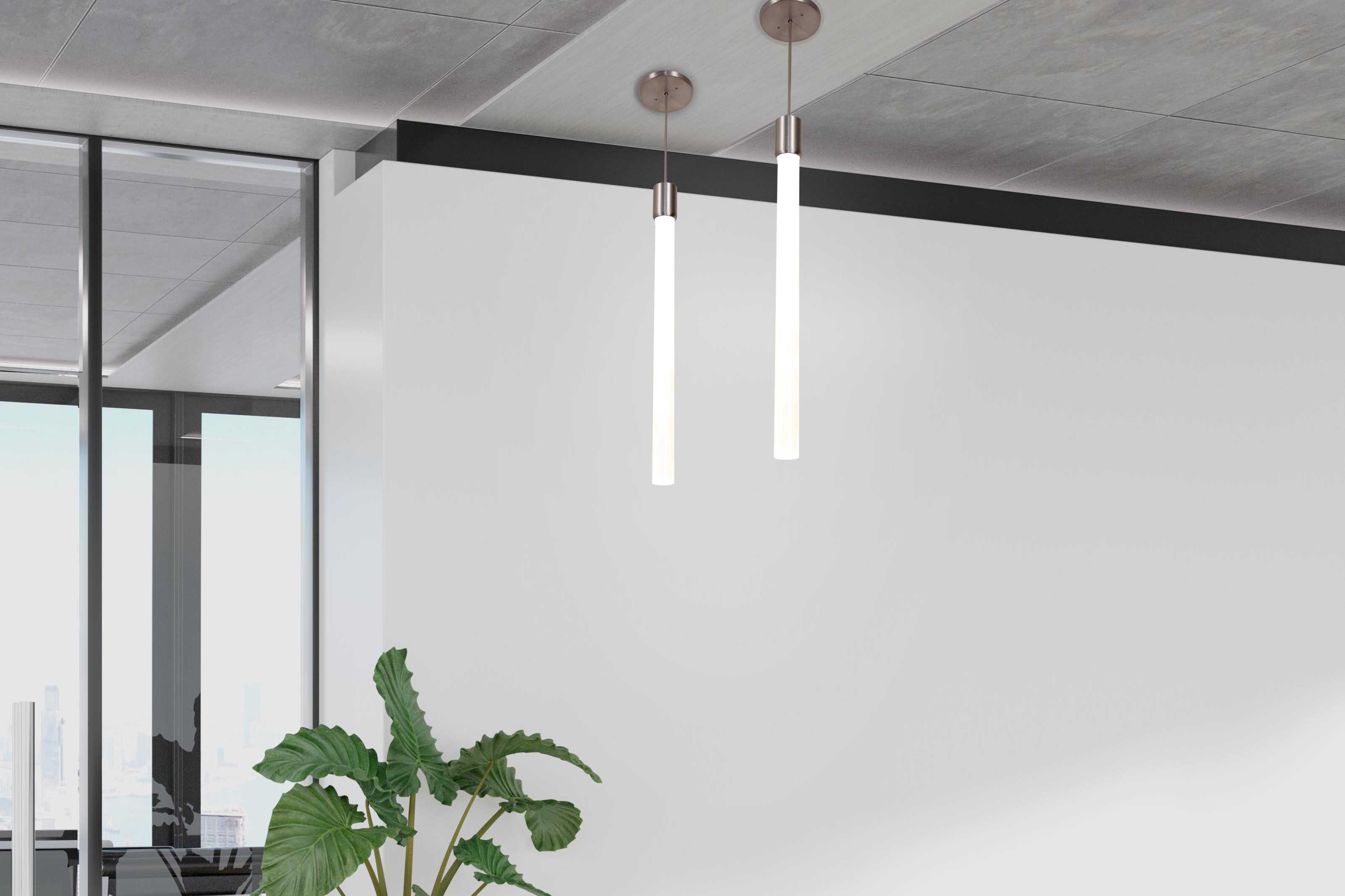 1ft and 2ft Theo pendants with silver finish hung in office