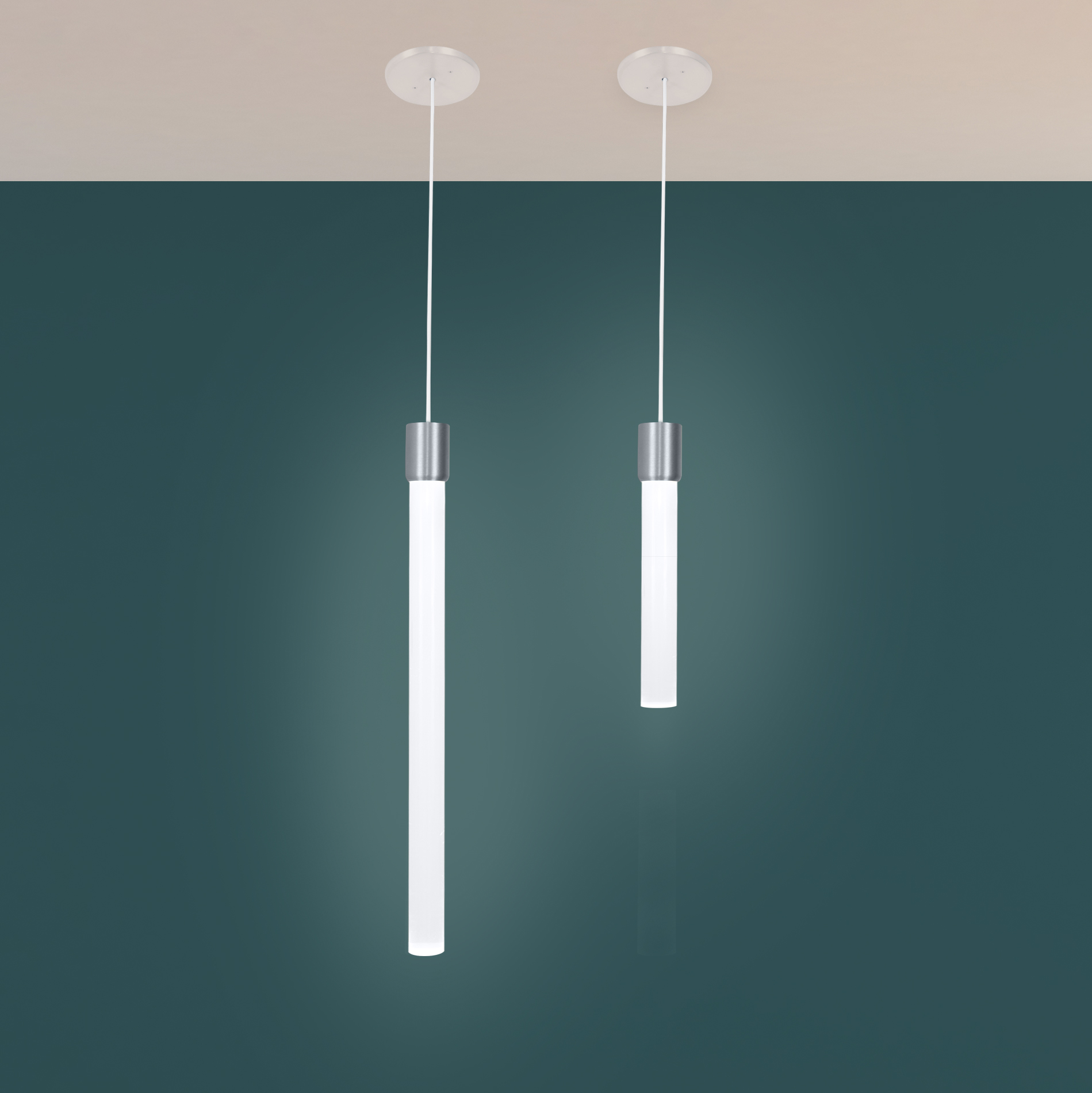 Theo slim and modern LED pendant lightings in 1ft and 2ft lenghts