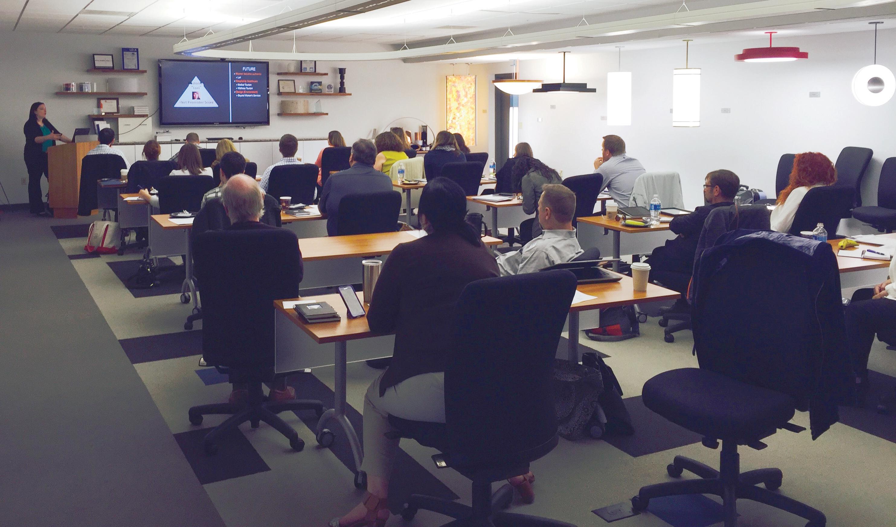 Seminar being held in Visa Lighting's training room.