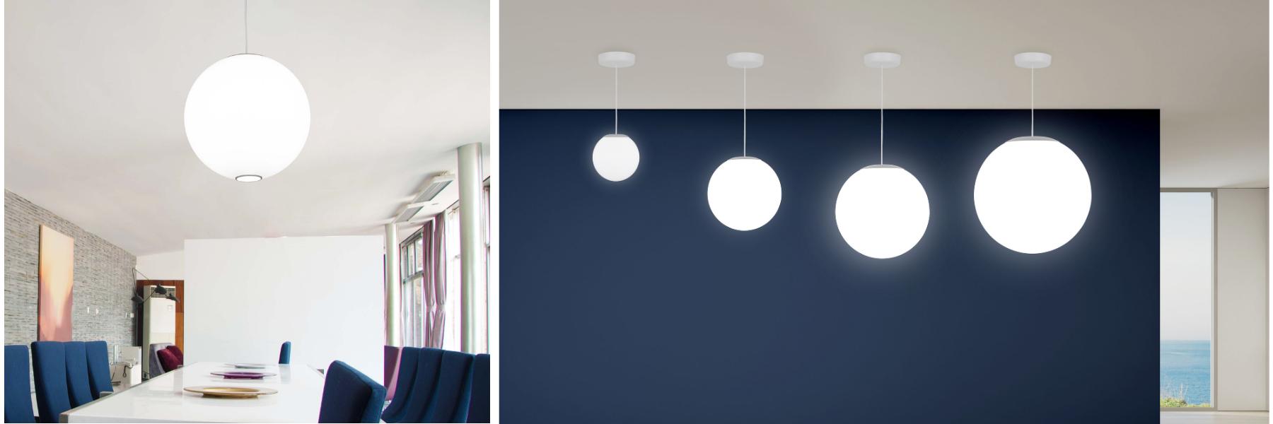 Zume indoor globe LED pendant lights by Visa Lighting