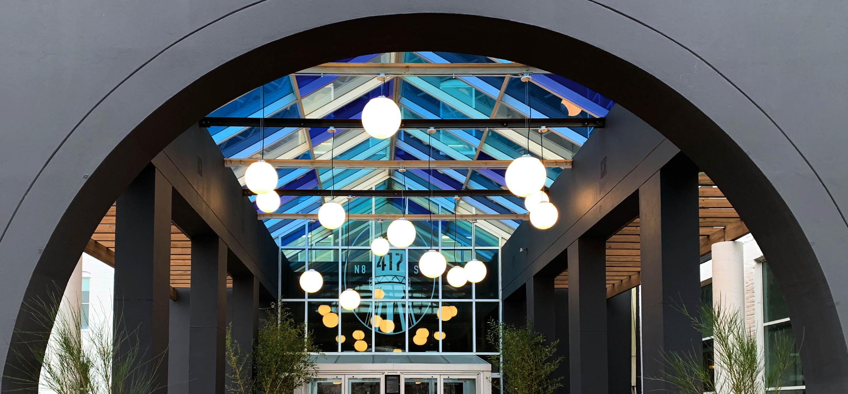Zume outdoor LED globe pendant light by Visa Lighting
