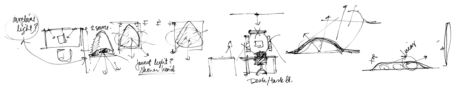 Design sketches for anti-ligature light fixtures in behavioral health environments