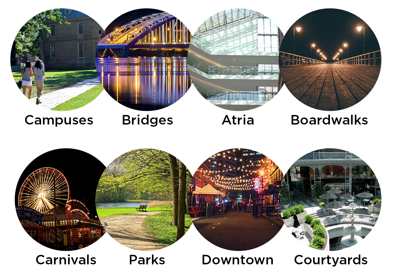 Catenary lighting can enhance parks, boardwalks, downtown, campus paths, courtyards, amusement parks, bridges, and atria
