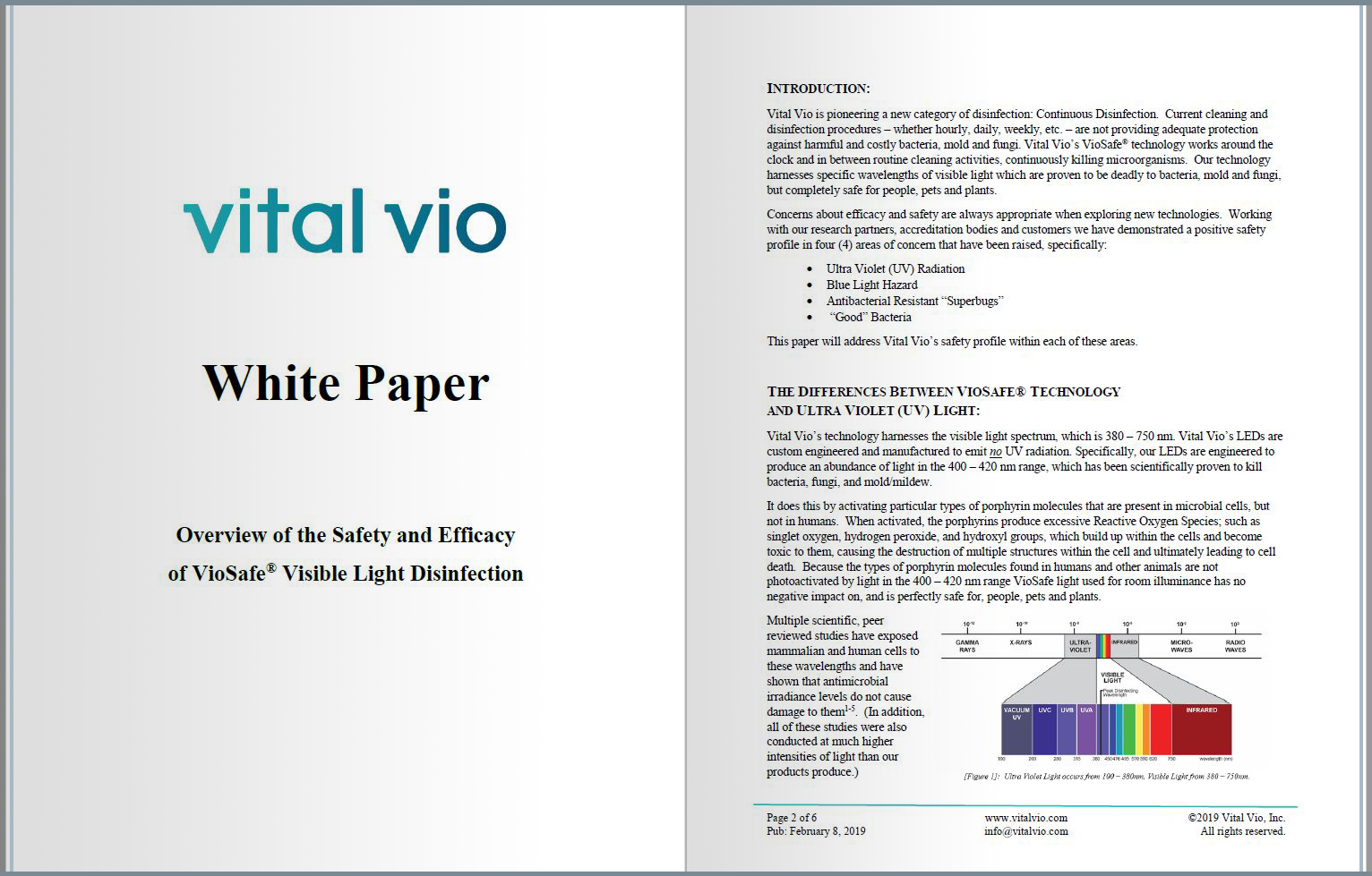 Vital Vio White Paper: Overview of the Safety and Efficacy of VioSafe® Visible Light Disinfection