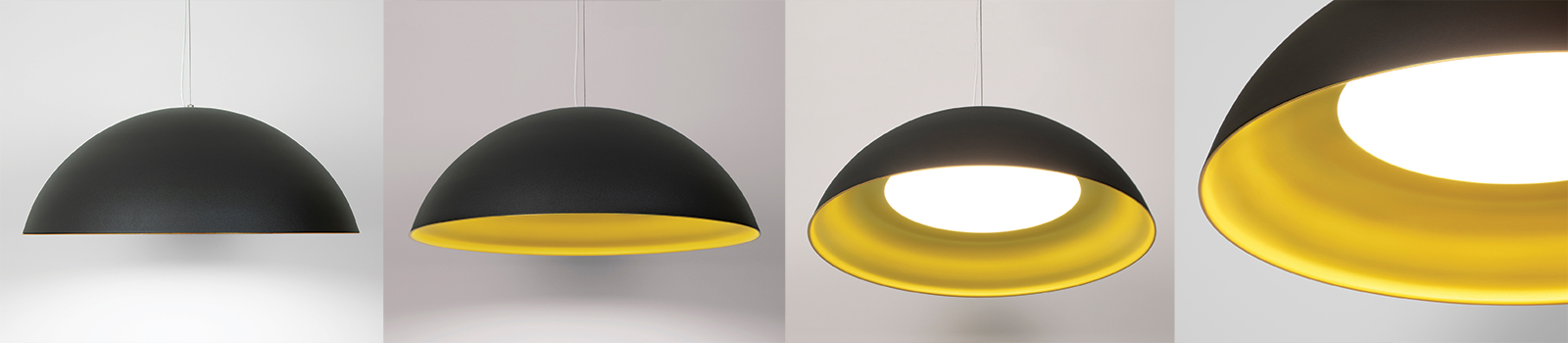 Hellen dome pendant in black and gold finishes
