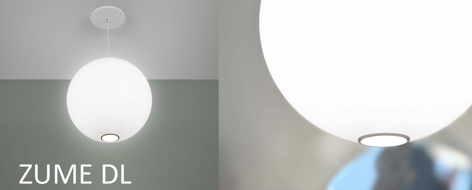 Zume globe pendant with downlight by Visa Lighting