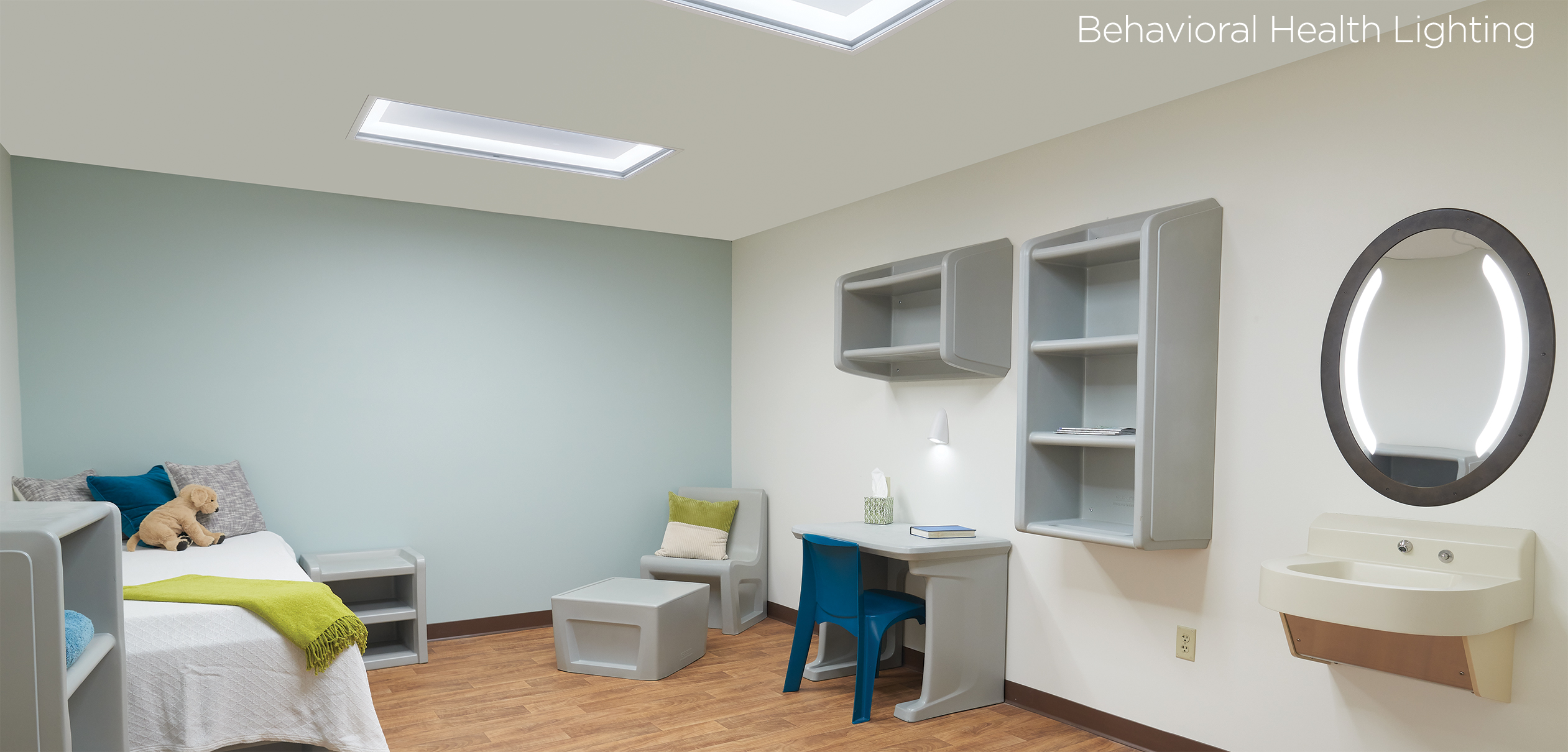 Behavioral health patient room with high abuse lighting