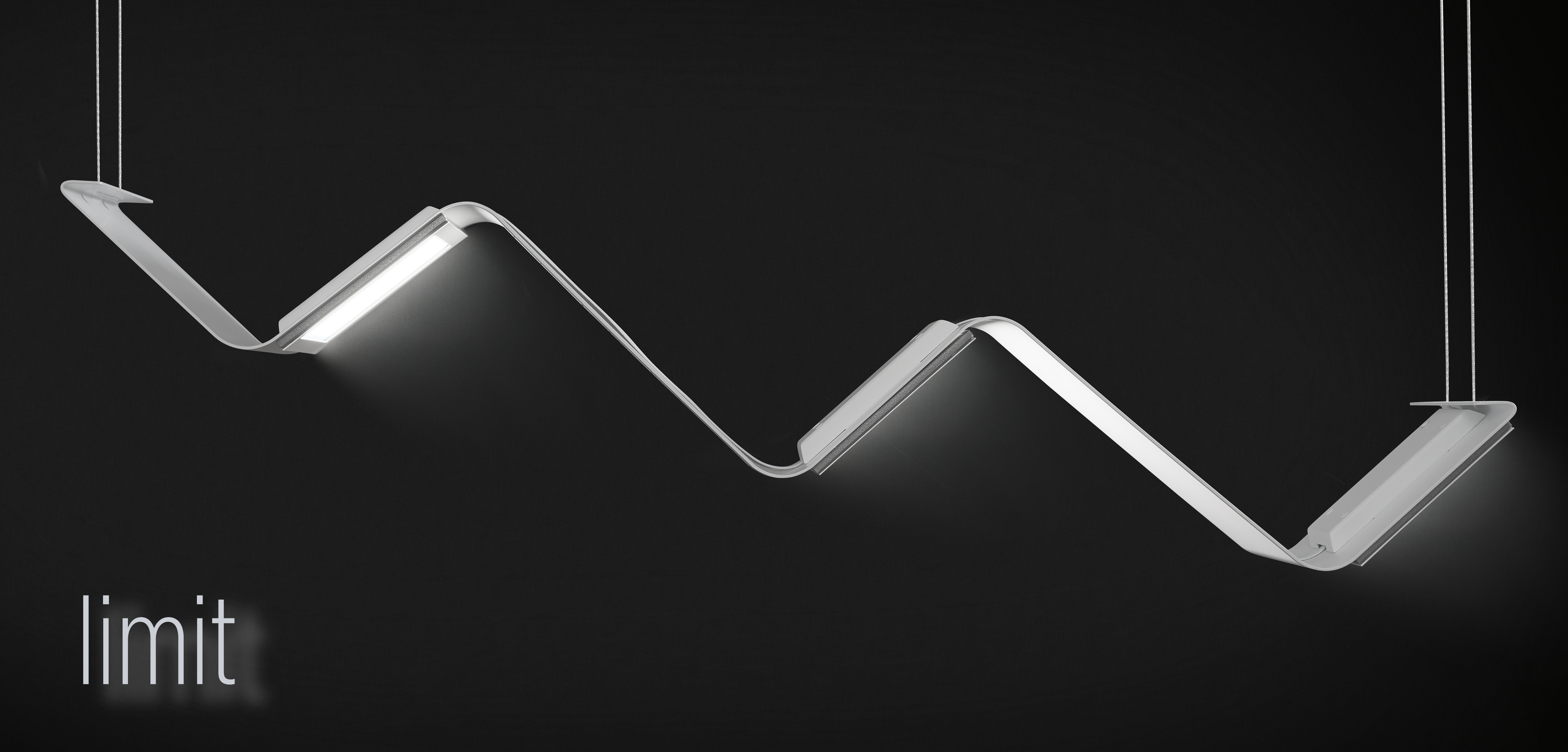 Limit, an OLED architectural lighting pendant, showing it's zig-zag shape over a black background