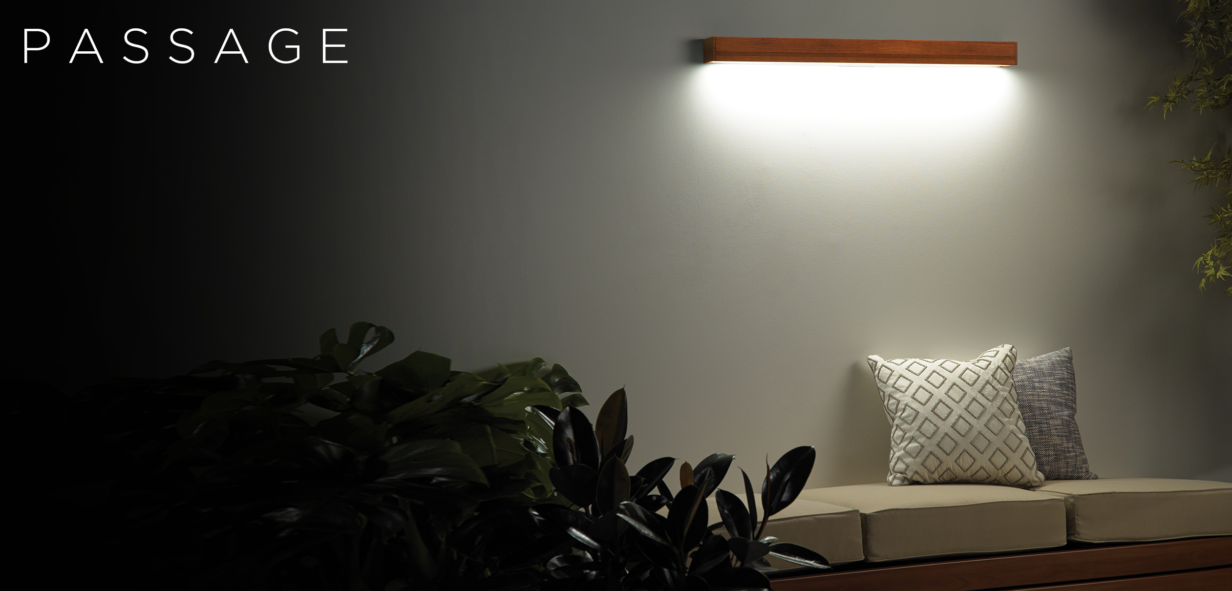 Passage wood linear sconce architectural lighting in an outdoor setting