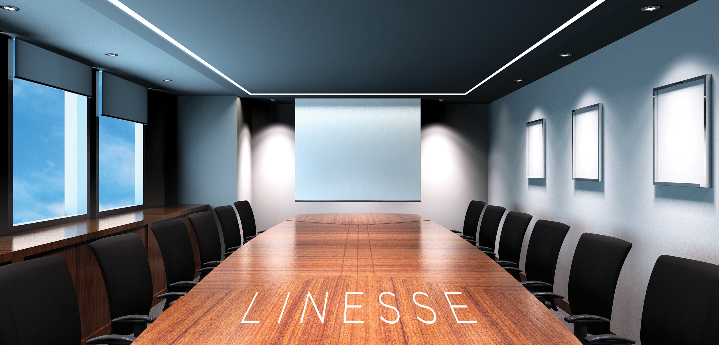 Linesse linear recessed luminaires disinfecting a conference room