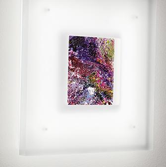 Led lighted art wall sconce Merlin with Vara Kamin artwork