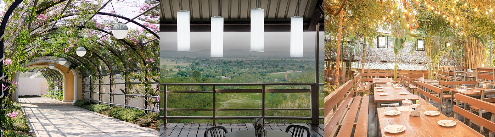 Three application images of our outdoor pendants, all outside