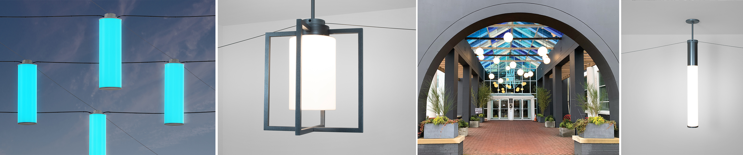 Outdoor pendant banner with several different luminaires and applications