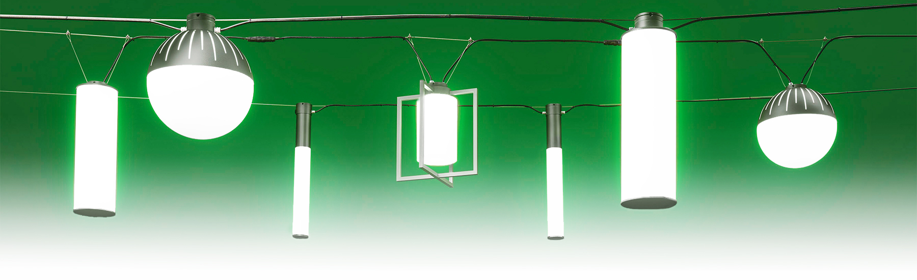 Outdoor pendant lighting creates eye-catching catenary designs