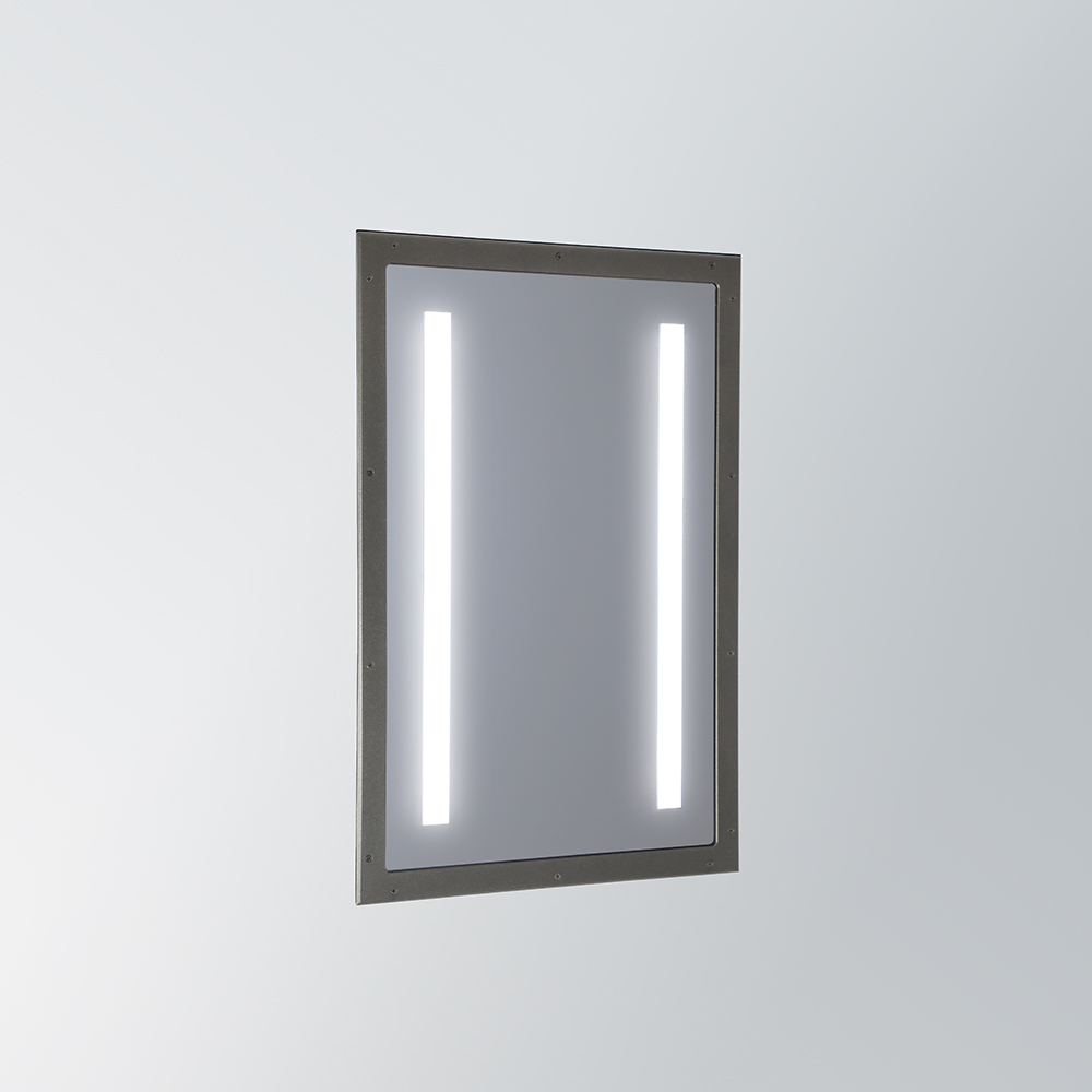 A rectangular mirror with integrated LED illumination