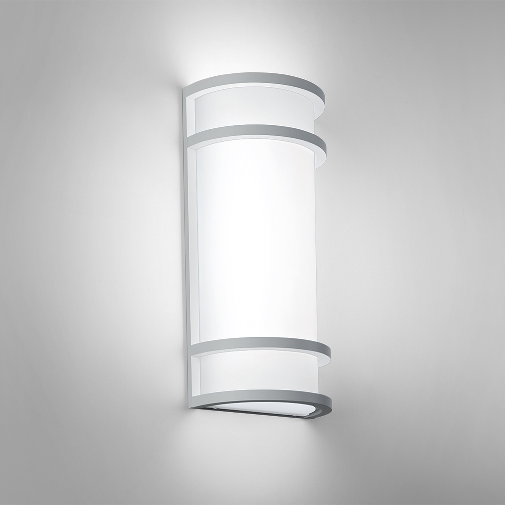 A rectangular indoor wall sconce with single bar accents