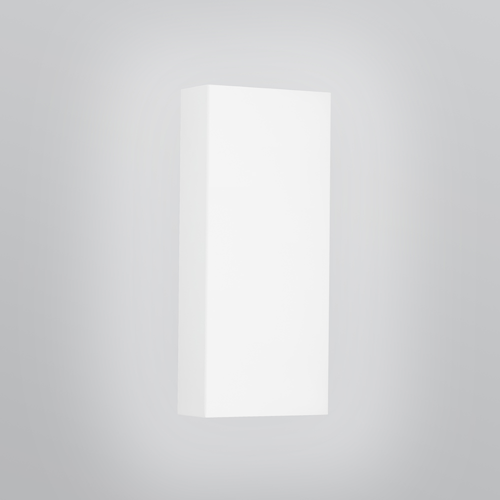 A rectangular wall sconce with a flat body