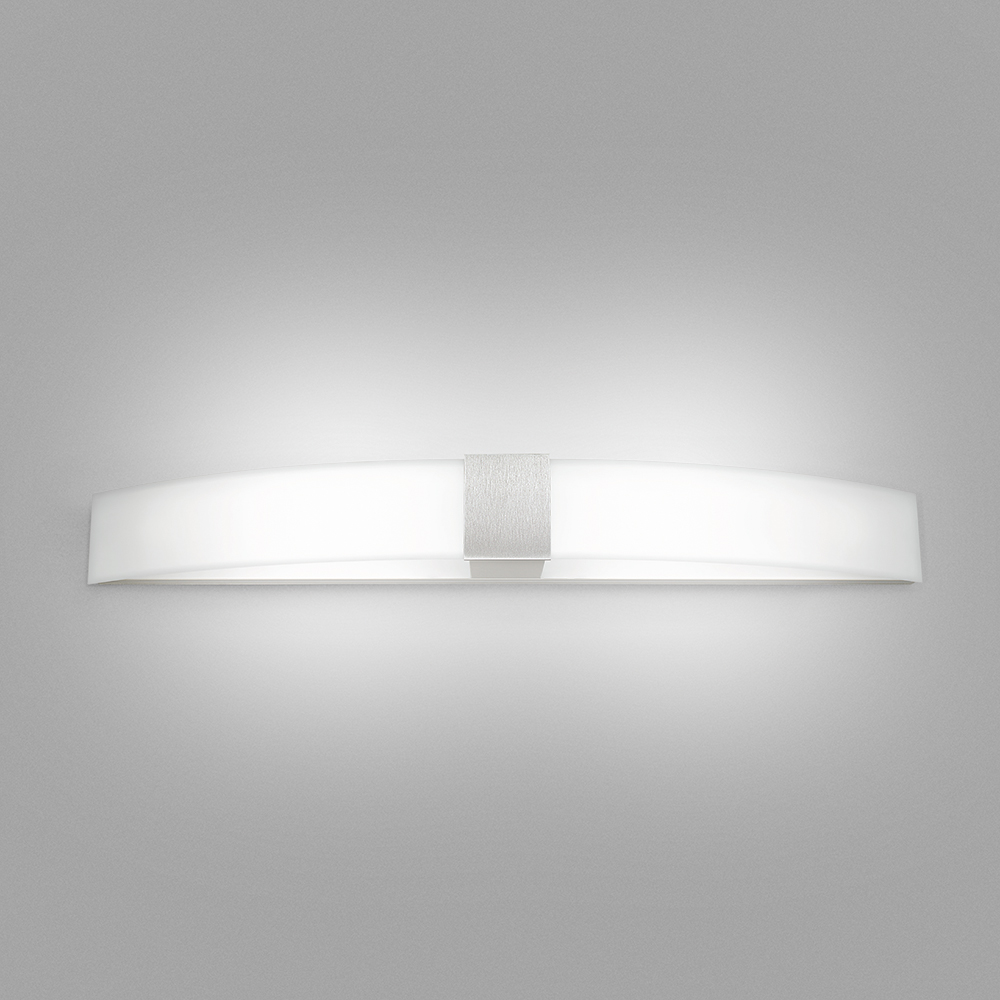 A long, curved wall sconce with a luminous body and a square accent in the middle