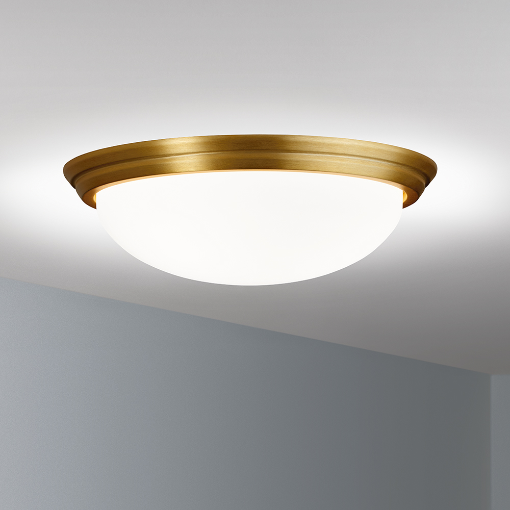 A ceiling-mounted bowl fixture with a shallow luminous bowl
