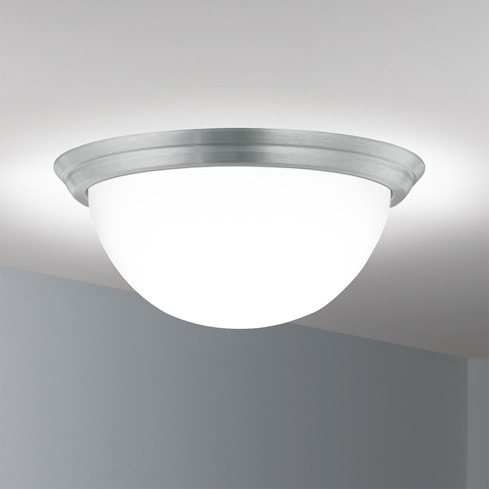 A ceiling-mounted bowl fixture with a deep luminous bowl