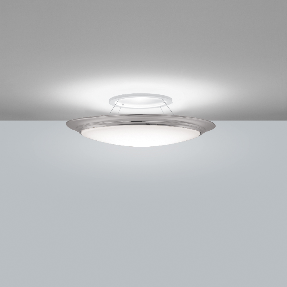 A suspended bowl luminaire mounted on the ceiling