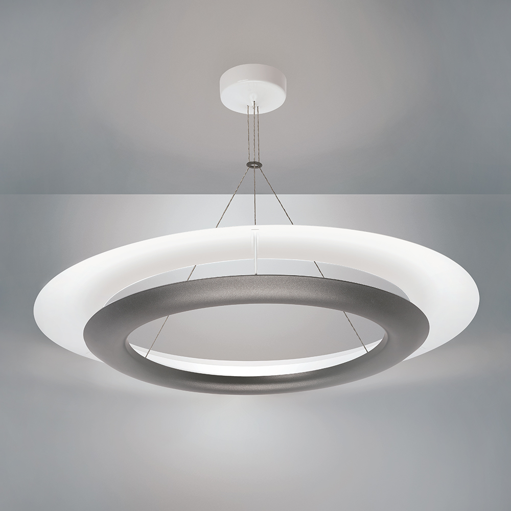 A flared ring sconce with two suspended rings