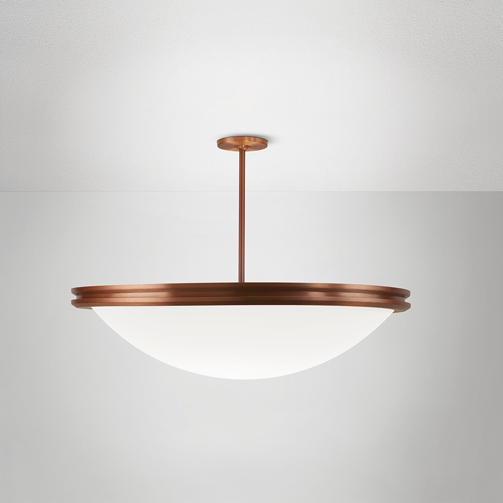 A large bowl pendant suspended with a stem