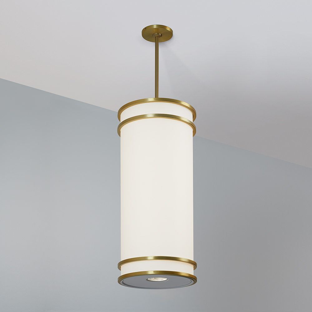 A large, luminous cylinder pendant with double bar accent