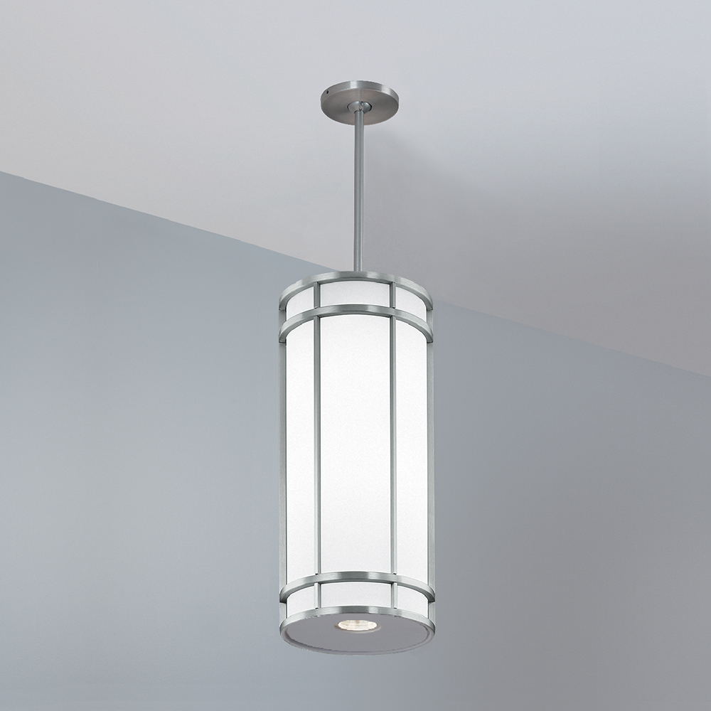 A large, luminous cylinder pendant with cross bar accent