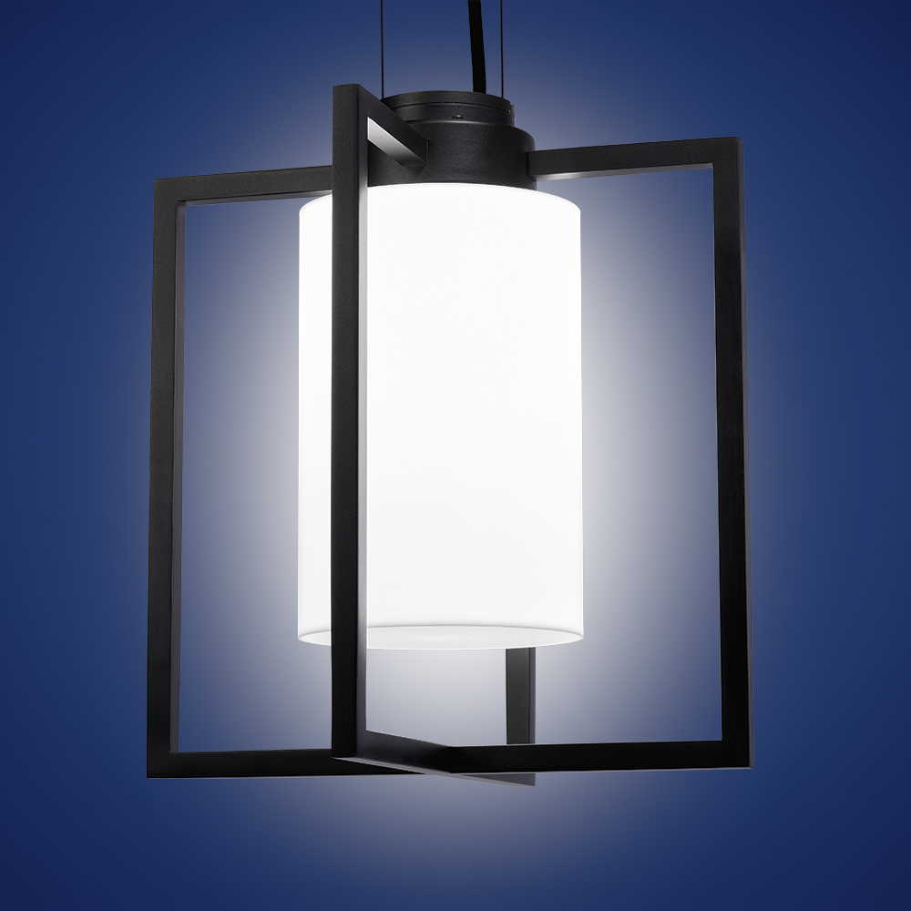 A modern lantern-style outdoor pendant with a black frame and luminous inner cylinder