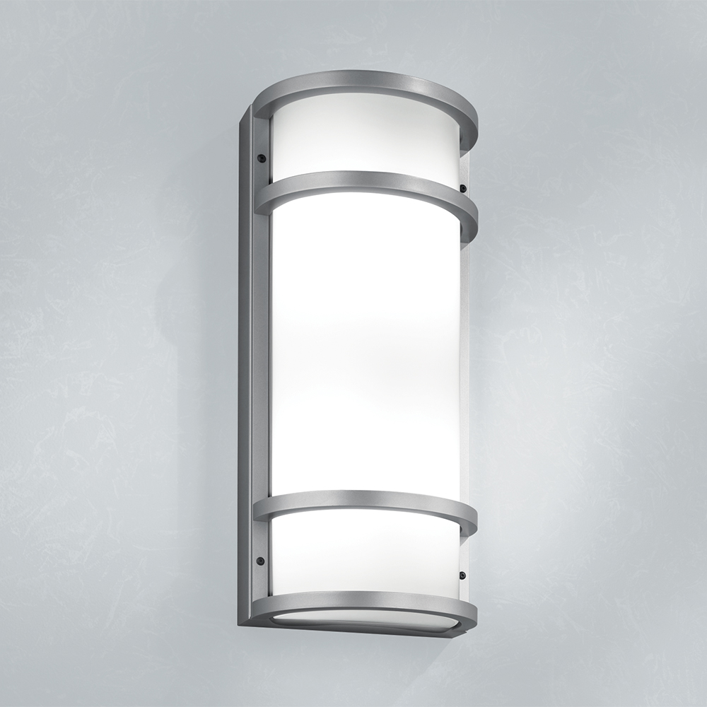 A rectangular outdoor wall sconce with single bar accents