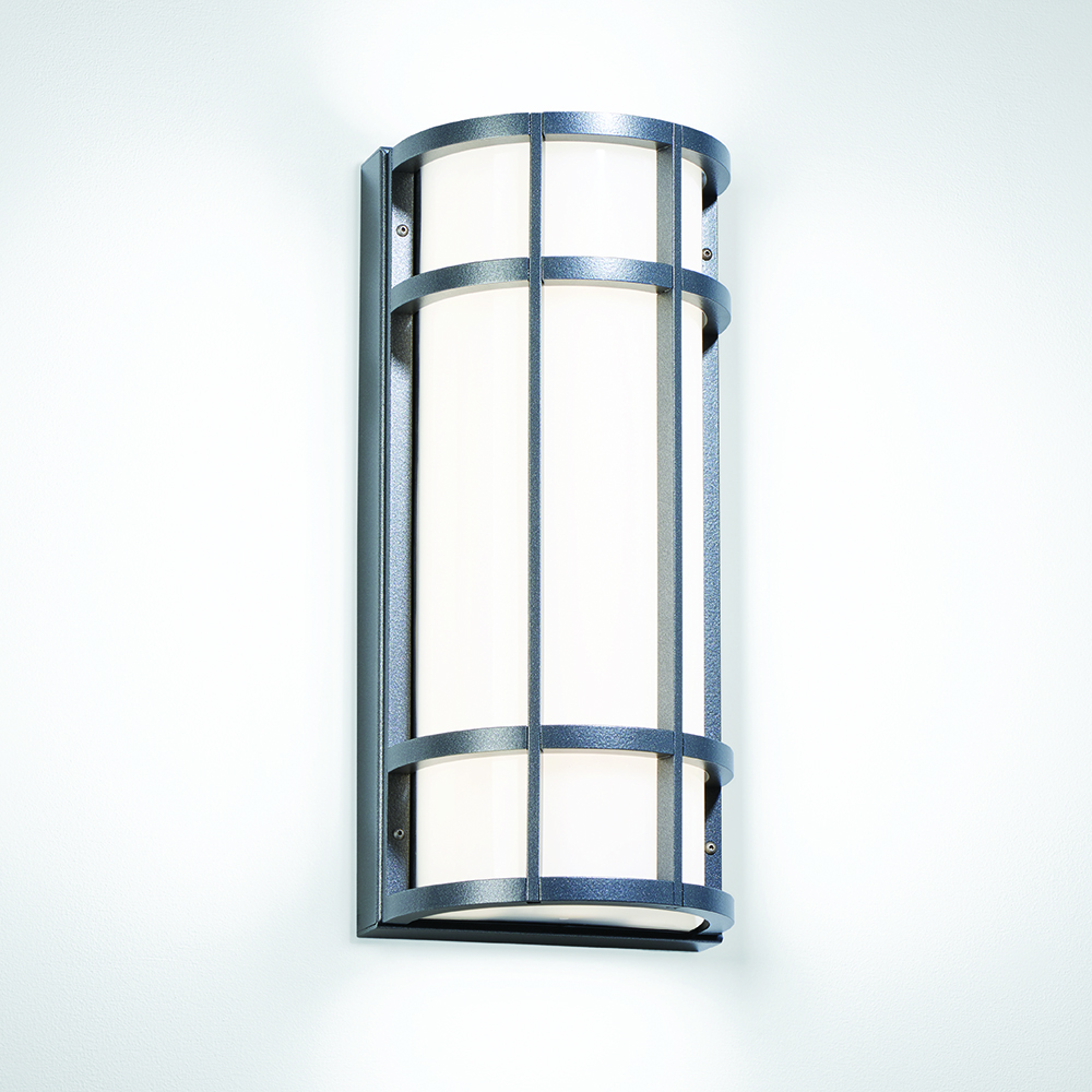A rectangular outdoor wall sconce with cross bar accents