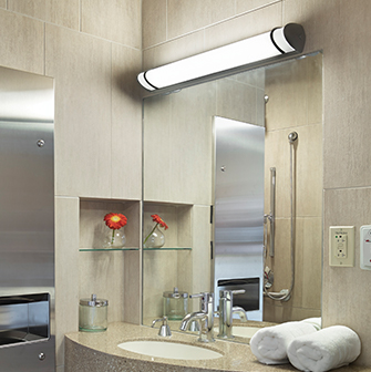Raven LED water resistant vanity light for high abuse bathroom areas