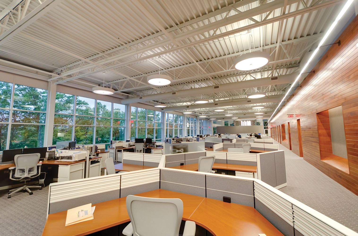 Advantus linear indirect wall mounted fixtures and Omnience pendants in a large office lighting application.