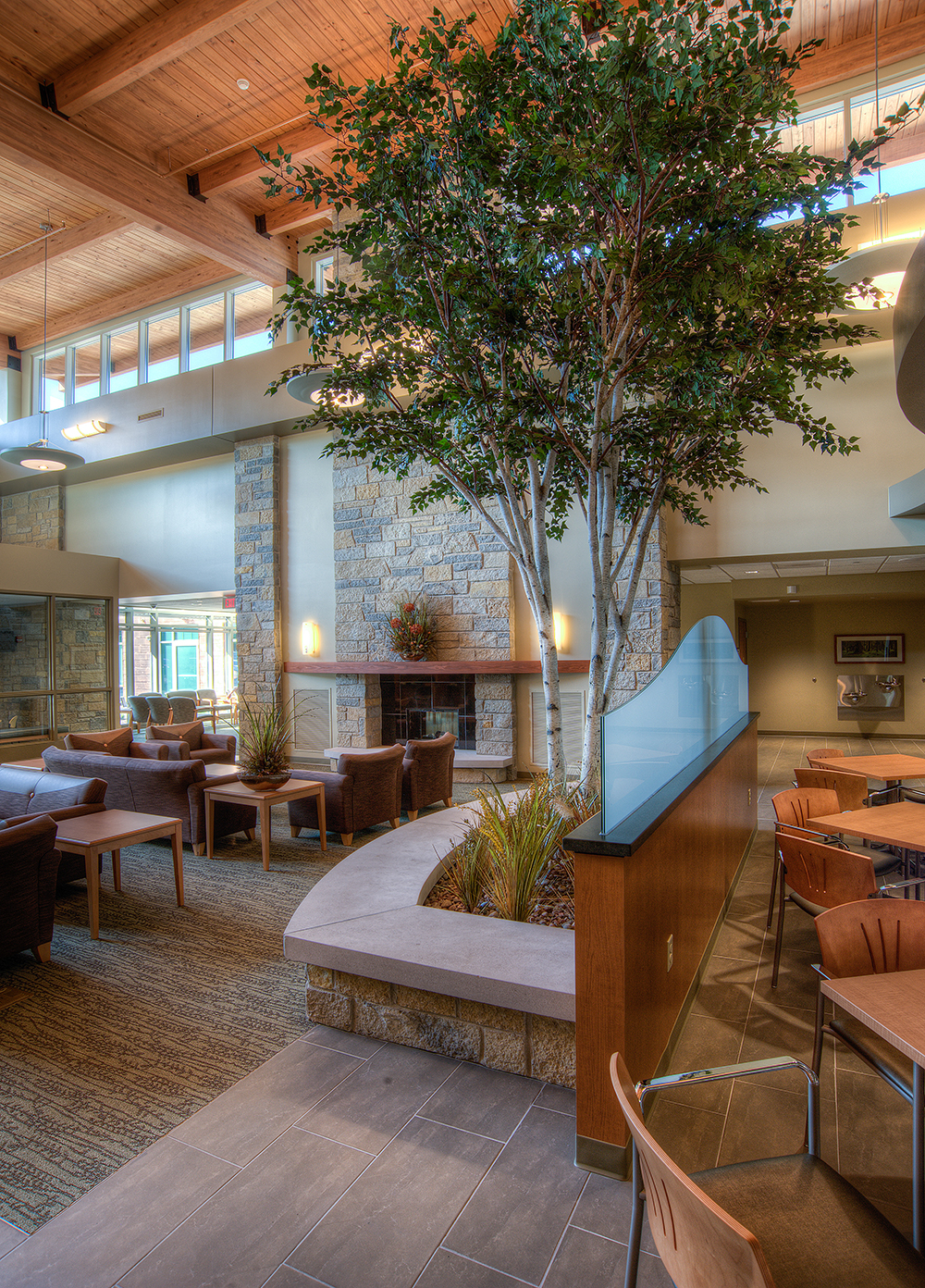 Camber sconces in a soothing, nature-themed lobby for warm hospital lighting design