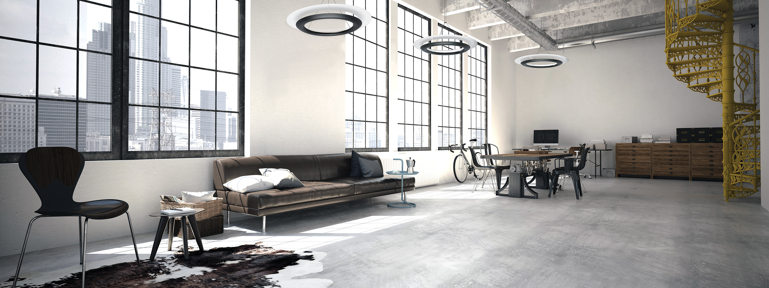 Ultra-modern Cosmo pendants in a sleek apartment lighting design along large windows and a clean loft space